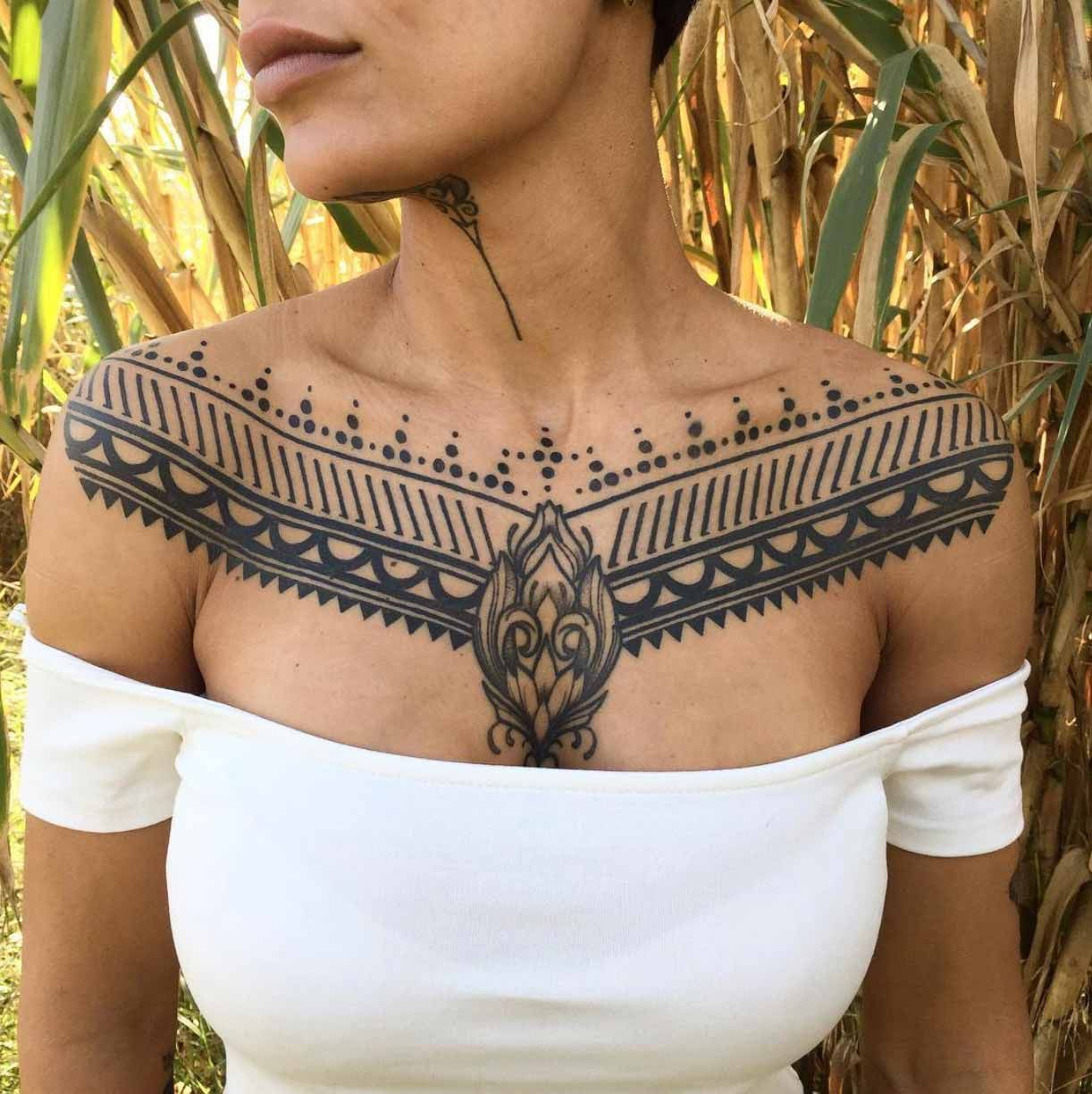 Chest Tattoo Designs for Girls