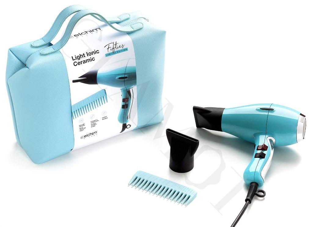 Elchim 3900 Light Ionic Ceramic Fifties Blue Hair Dryer